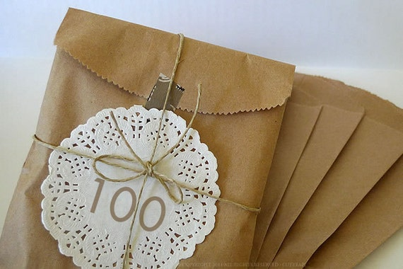 100 BLANK 5x7 Paper Bags Kraft Bag for Eco Friendly Gift Packaging