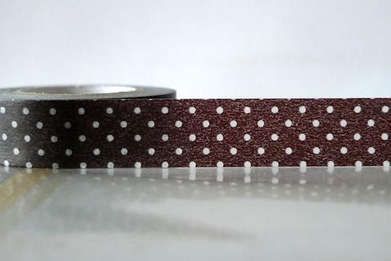 Japanese Washi Tape - White on BLACK Polka Dots Pattern 15mm SINGLE