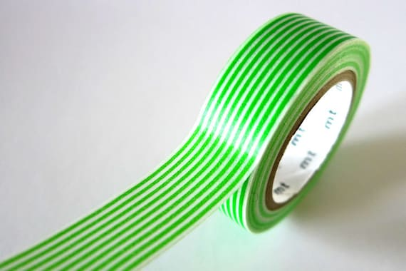 Green Washi Tape Horizontal Striped Lines 15mm Japanese MT Masking Tape - PrettyTape