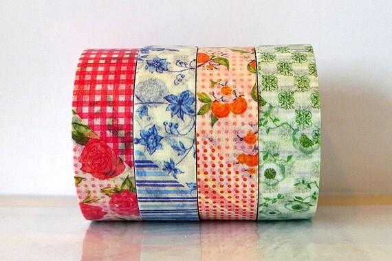 MT ex Flower Washi Tape  SET of 4 Red Japanese MT Masking Tape Blue, Orange, Green