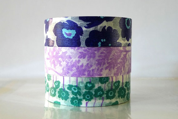 Poppy Flower Washi Tape Navy Poppy Print, Purple Leafe, Teal Poppy masking tapes - Set of 3 PrettyTape 117ft total
