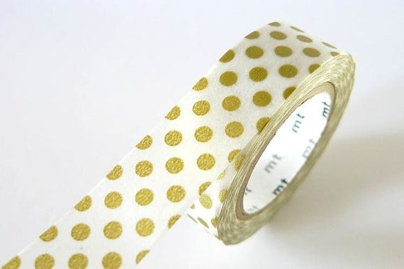 Japanese Gold Washi Tape gold BIG Dots 15mm Pretty Tape