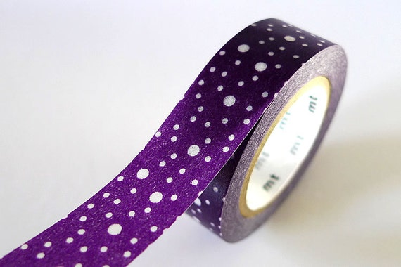 Galaxy Space Out Purple Washi Tape EGGPLANT 15mm Japanese MT Dots Masking Tape - Pretty Tape