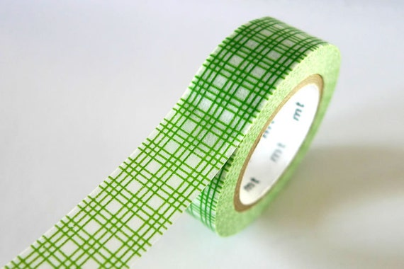 GREEN Square GRID Washi Tape 15mm Japanese MT Masking Tape - PrettyTape