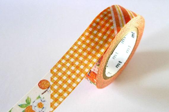 Vintage Style mt ex ORANGE Stripe Gingham Floral Washi Tape 15mm Japanese Masking Tape - PrettyTape