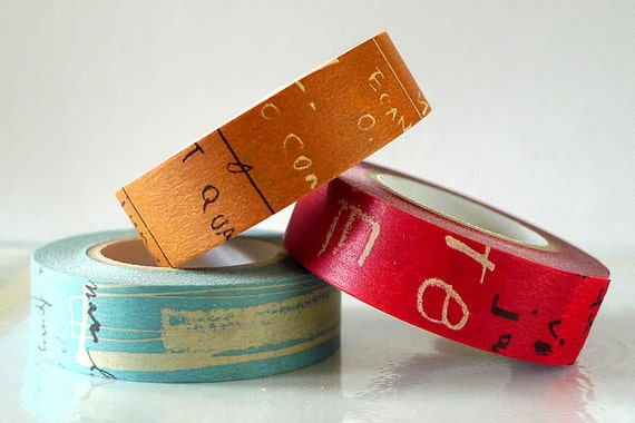 Graffiti Washi Tape Set DARK (A) Artistic Collage Japanese Masking Tape Set of 3