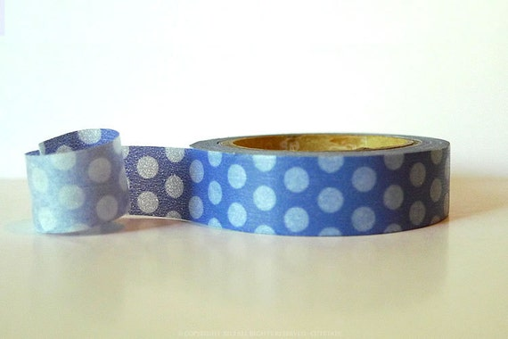 From Sweden Washi Tape LARGE Blue Dots  (Chugoku) Paper Tape
