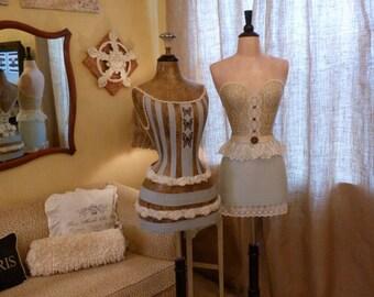 Vintage Inspired Dress Form Mannequin Lace Belt Blue Skirt  FREE SHIP & LAYAWAY
