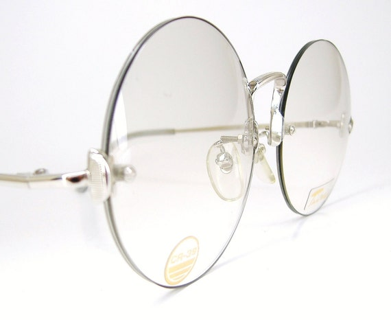 Round Glasses No Frame : Vintage Rimless Round Eyeglasses Frame Tura NOS