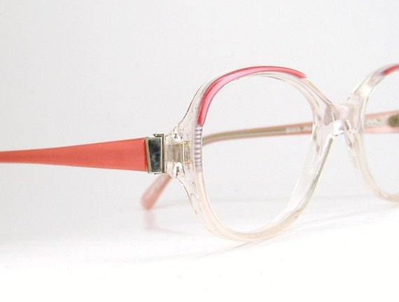 Vintage1980s Pink Big Lens Eyeglasses Eyewear Frame NOS
