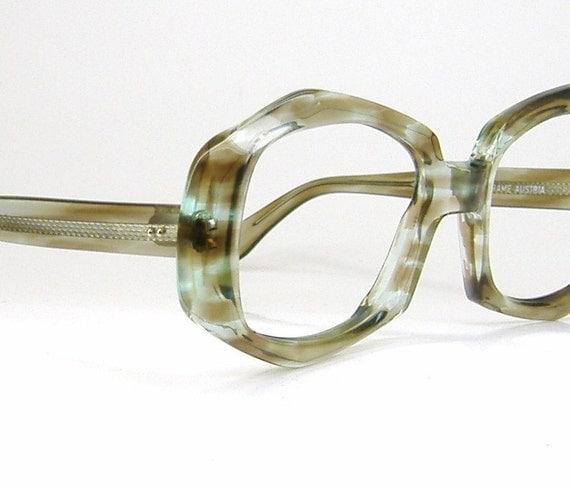 Vintage1970s Womens Multi Colored Charcoal Blue Eyeglasses Eyewear Frame NOS