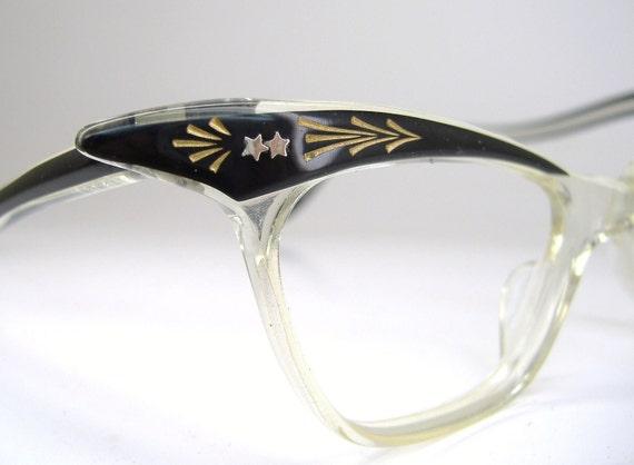 Vintage Black Clear Winged Cat Eye Eyeglasses Eyewear Frame NOS