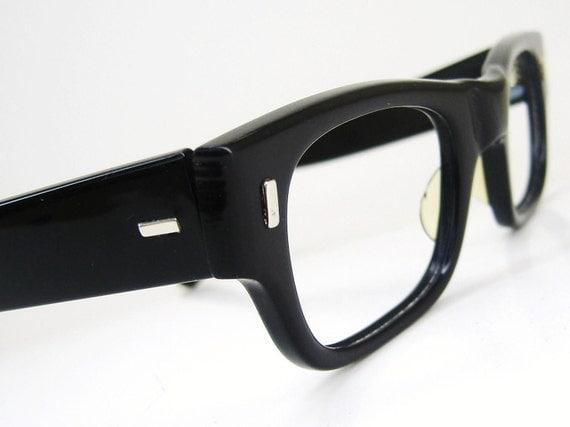Vintage Mens Black Horn Rim Eyeglasses Frame NOS