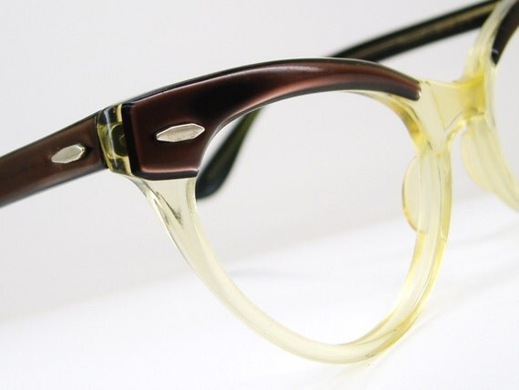 Vintage Yellow Cateye With Brown  Accents And Temples Eyeglasses Eyewear Frame NOS