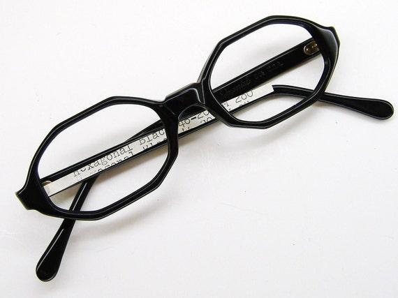 Vintage1970s Black Hexagon Big Lens Cateye Eyeglasses Eyewear Frame NOS