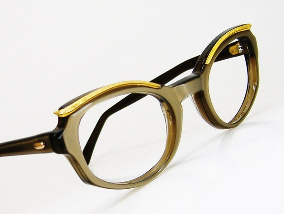 Vintage Beige Cat Eye Eyeglasses Sunglasses Eyewear Frame With Gold Brow Accents NOS