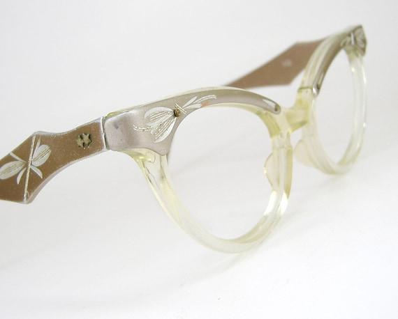 RESERVED for Lenisemicolon---Vintage 50s Bronze Horn Rim CatEye Eyeglasses Eyewear Frame