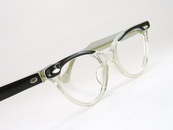Vintage1960s Clear With Black Accents And Temples Horn Rim Cateye Eyeglasses Eyewear Frame