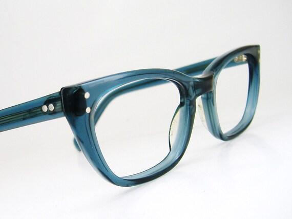 Vintage 50s Blue Smoke Horn Rim Cateye Eyeglasses Eyewear Frame