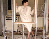 ivory wool skirt suit - 1011001
