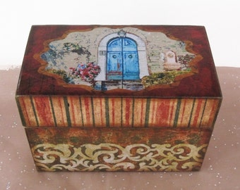 Recipe Box Personalized Wooden Under the Tuscan Sun