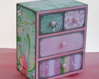Girls Jewelry Box Shabby Pink Chic Chest Wooden Personalized