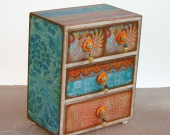 Decorated Jewelry Box Moroccan Bazaar Orange and Turquoise