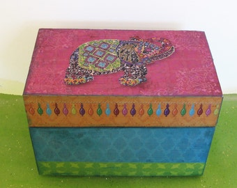 Personalized Recipe Box Decorated Exotic Spice Hot Pink and Turquoise Wooden