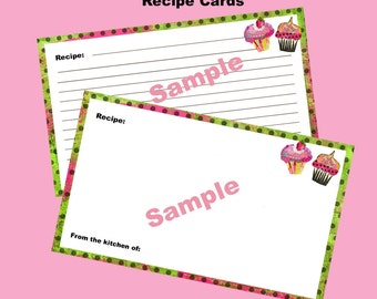 Recipe Card Printable and Editable 3 x 5 Cupcake Craze Coordinates with Cupcake Craze Recipe Box Digital Sheet Instant Download