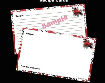 Recipe Cards 3 x 5 Editable and Printable Digital Instant Download for Crimson Poppies Recipe Box