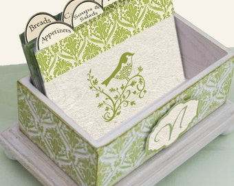 Recipe Box or Address Box Open Simply Nature Distressed Monogrammed  4 x 6
