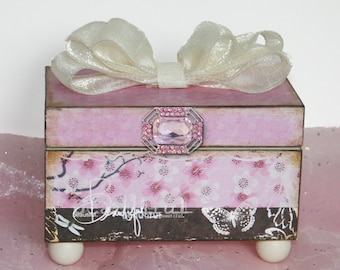 Girls Trinket Keepsake Jewelry Box Personalized Cherry Blossoms Pink & Brown