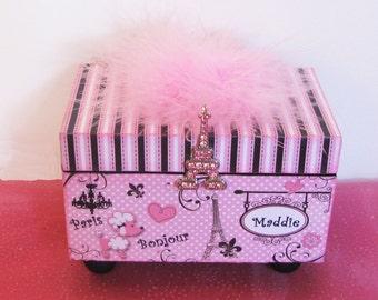 Jewelry Trinket Keepsake Decorative Box Personalized Parisian Pink Poodle