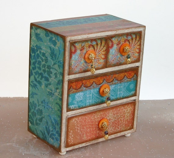 Moroccan Bazaar Orange and Turquoise Wooden Jewelry Box