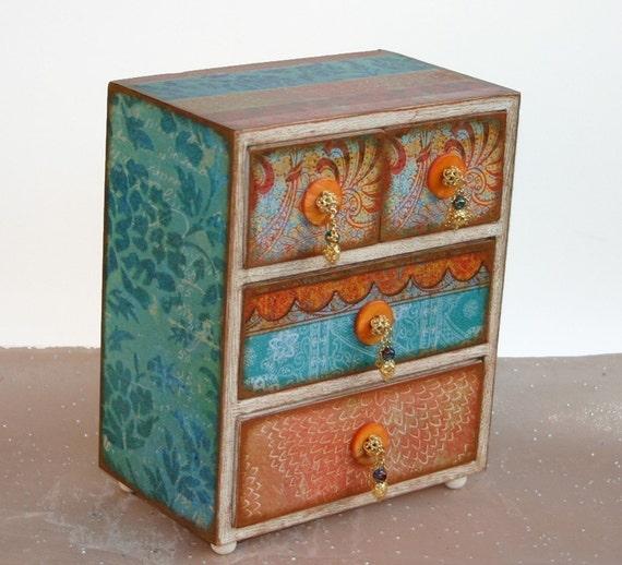 Decorated Jewelry Box Moroccan Bazaar Orange and Turquoise