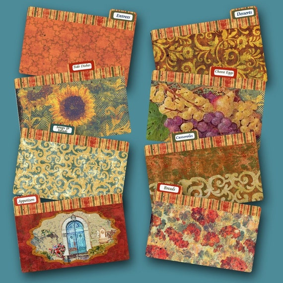 Recipe Box Divider Cards Under the Tuscan Sun coordinate with Under the Tuscan Sun Recipe Box
