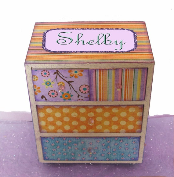 Girls Jewelry Box Personalized Wooden  Dreamsicle Sherbet 4 drawer