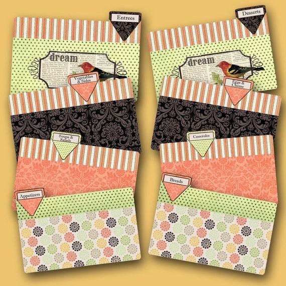 Recipe Divider Cards Coordinate with Dream Bird Recipe Box