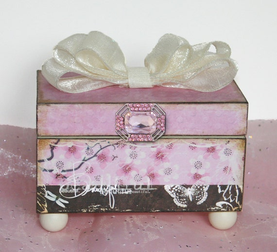 Girls Trinket Jewelry Box Personalized Cherry Blossoms Pink & Brown