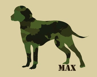 CHOOSE YOUR BREED personalized camouflage dog print