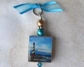 Lighthouse Pendant Sandy Beach Scrabble Altered Art Charm