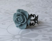 Vintage Blue Rose Black Filigree Ring