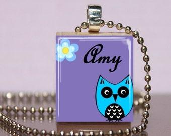 Sweet Owl Scrabble Pendant Custom Necklace