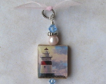 Beautiful Lighthouse at the Beach Scrabble Swarovski Charm Pendant