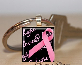 Breast Cancer Pink Ribbon Scrabble Key Chain