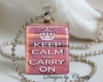 Keep Calm and Carry on Pink Scrabble Necklace