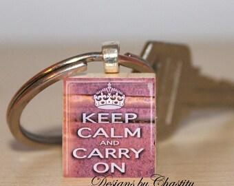 Keep Calm Carry On Pink Keychain