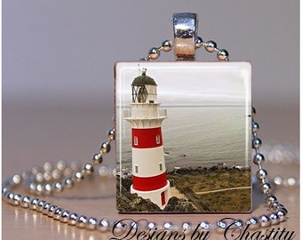 Lighthouse at Waters Edge Scrabble Necklace