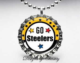 Go Steelers Bottle Cap Pendant Necklace
