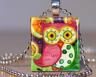 Whimsy Owl Scrabble Charm Necklace